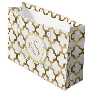 Modern White & Gold Ikat Quatrefoil Pattern Large Gift Bag