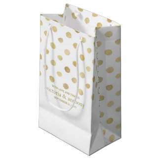 Modern White & Gold Polka Dots Wedding Favor Small Gift Bag