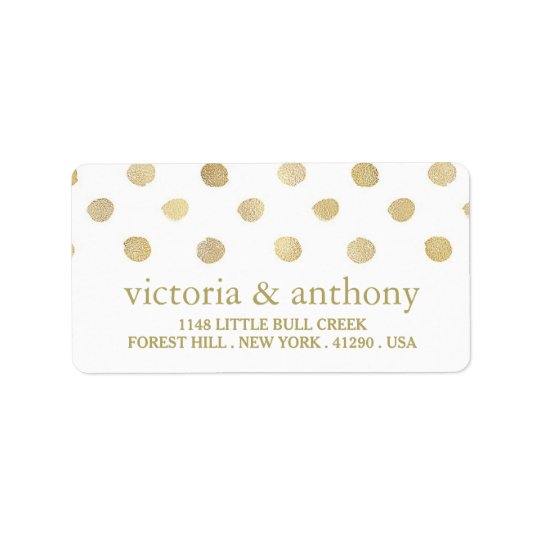 Modern White & Gold Polka Dots Wedding Label
