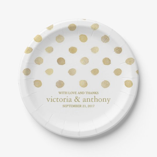 Modern White & Gold Polka Dots Wedding Paper Plate