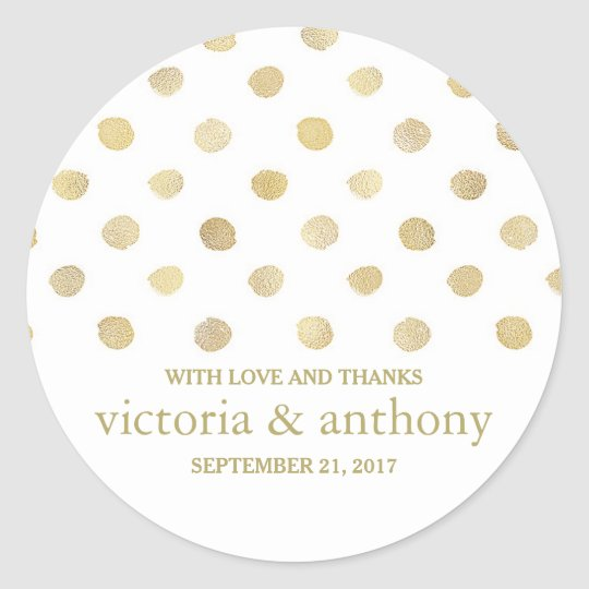 Modern White & Gold Polka Dots Wedding Thank
