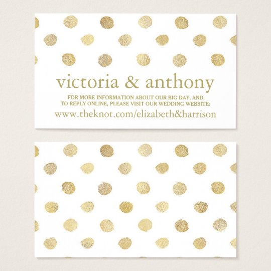 Modern White & Gold Polka Dots Wedding Website Business Card