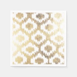 Modern white hand drawn ikat pattern faux gold disposable serviette