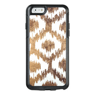 Modern white handrawn ikat pattern faux brass gold OtterBox iPhone 6/6s case
