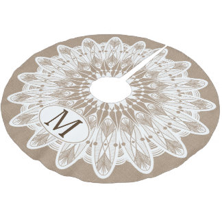 Modern White Lace Burlap Personalized Brushed Polyester Tree Skirt