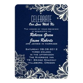 modern white lace pattern navy blue wedding 13 cm x 18 cm invitation card