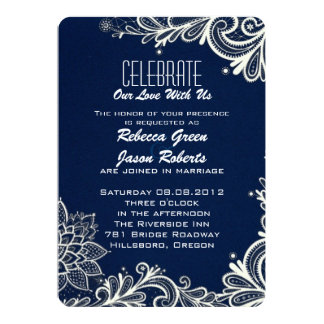 modern white lace pattern navy blue wedding card