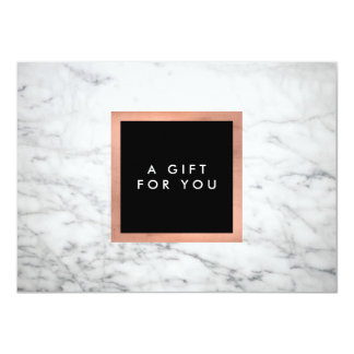 Modern White Marble and Rose Gold Gift Certificate 11 Cm X 16 Cm Invitation Card