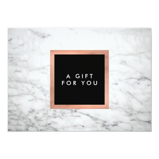 Modern White Marble and Rose Gold Gift Certificate