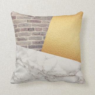 Modern White Marble Gold Foil Brick Wall Texture Cushion