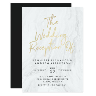 Modern White Marble Gold Script | Wedding Card
