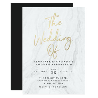 Modern White Marble Gold Script | Wedding Card
