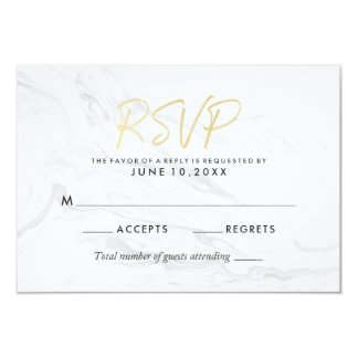 Modern White Marble Gold Script | Wedding RSVP Card