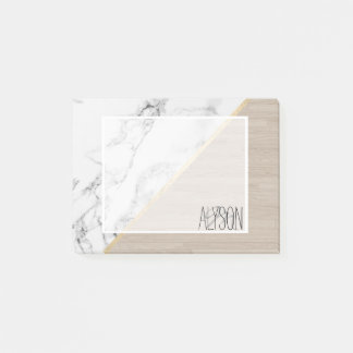 Modern white marble gold stripe wood color block post-it notes