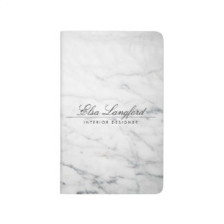 Modern White Marble Luxury Designer Pocket Journal