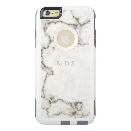 Modern White Marble OtterBox Custom Initials OtterBox iPhone