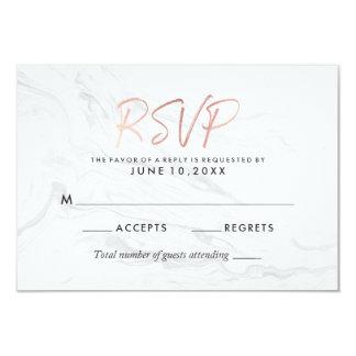 Modern White Marble Rose Gold Script Wedding RSVP Card