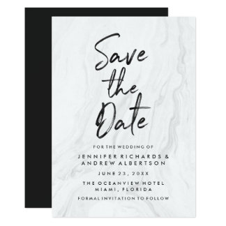Modern White Marble Script | Save The Date Card