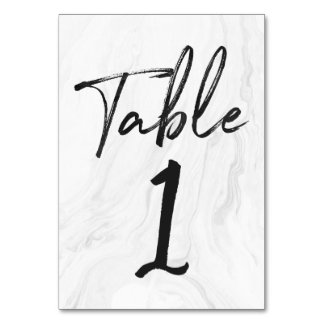 Modern White Marble Script | Table Number Card 1