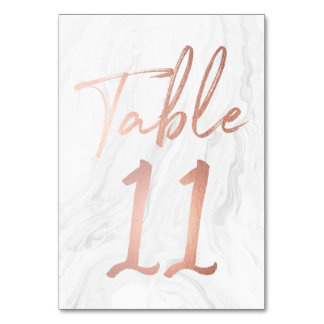 Modern White Marble Script | Table Number Card 11