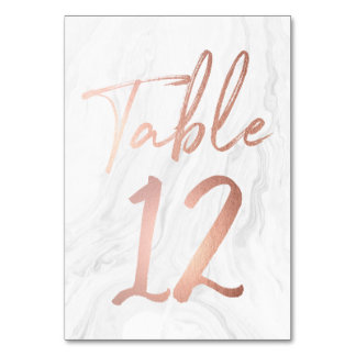 Modern White Marble Script | Table Number Card 12 Table Cards