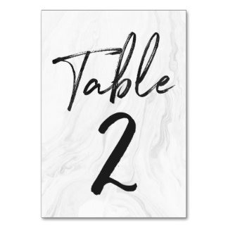 Modern White Marble Script | Table Number Card 2