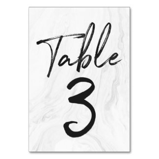Modern White Marble Script | Table Number Card 3