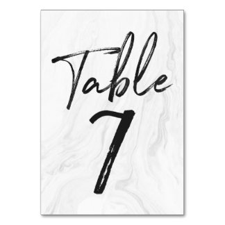 Modern White Marble Script | Table Number Card 7