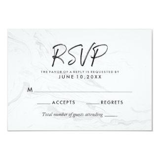 Modern White Marble Script | Wedding RSVP Card