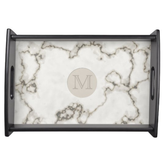Modern WHite Marble Serving Tray Custom Initial