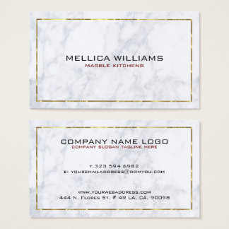Modern White Marble & Shiny Gold Border Business Card