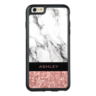Modern White Marble Stone And Rose Gold Glitter OtterBox iPhone 6/6s Plus Case
