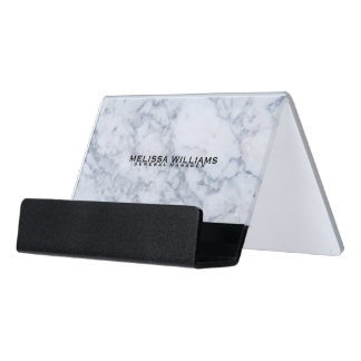 Modern White Marble Stone Texture Desk Business Card Holder