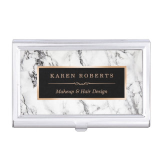 Modern White Marble Stone Texture Stylish Look Business Card Holders