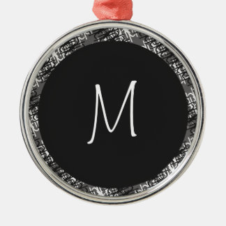Modern White Monogram On Stylish Abstract Pattern Christmas Ornament