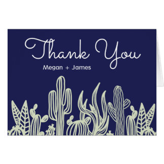 Modern White Peony And Succulents Navy Thank You Card