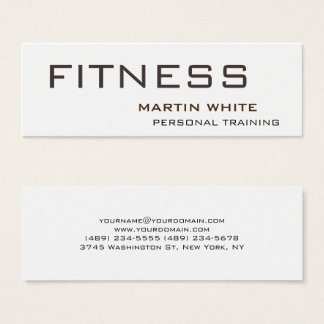 Modern White Personal Trainer Gym Bodybuilding Mini Business Card