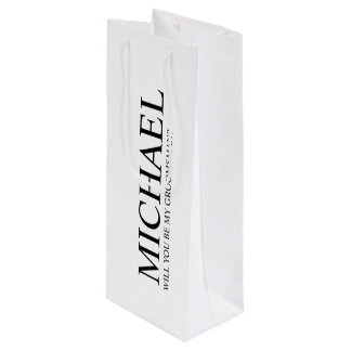 Modern White Personalized Groomsman Proposal Wine Gift Bag