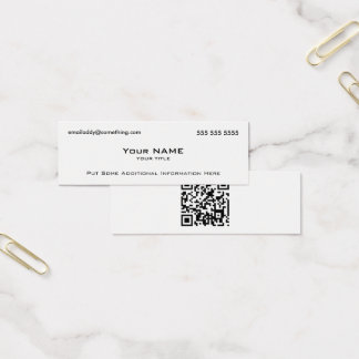 Modern White QR Code Mini Business Card