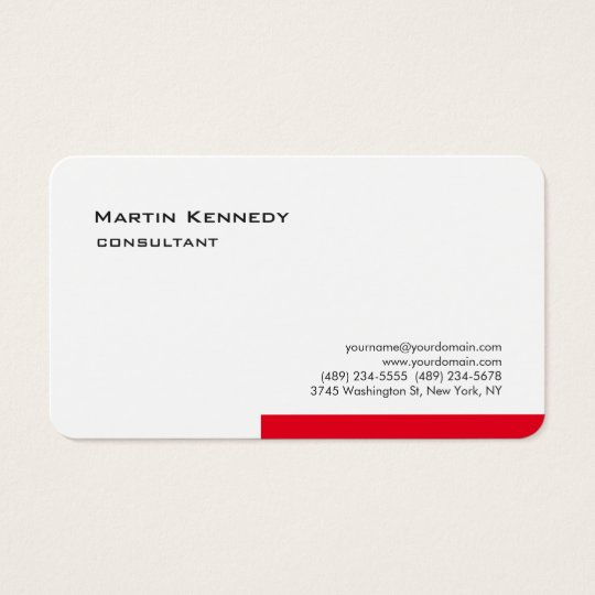 Modern White Red Simple Plain Minimalist Business Card