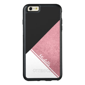 Modern White Rose Gold Black triangle OtterBox iPhone 6/6s Plus Case