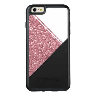 Modern White Rose Gold Glitter Black triangle OtterBox iPhone 6/6s Plus Case
