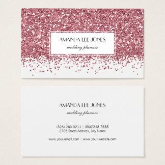 Modern White Rose Gold Glitter Business Card