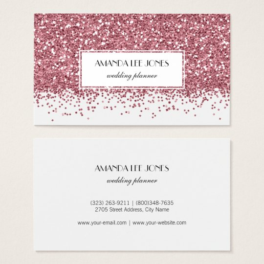 Modern White Rose Gold Glitter Business Card