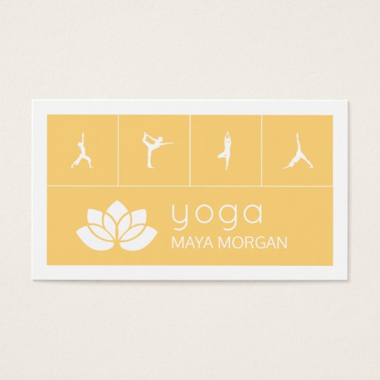 Modern White Silhouette Lotus Yoga Business Card