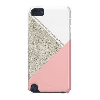 Modern White Silver Glitter Pink triangle iPod Touch 5G Covers