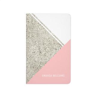 Modern White Silver Glitter Pink triangle Journal