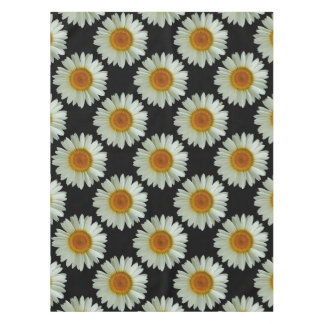 Modern White Summer Daisy on Black Tablecloth