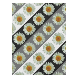 Modern White Summer Daisy on Stripes Tablecloth