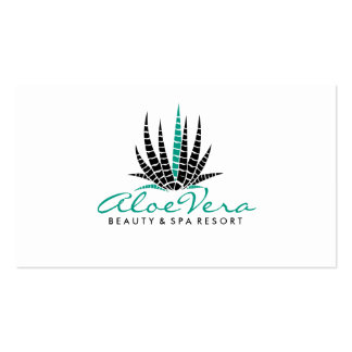 Modern White & Teal Aloe Vera Simple Illustration Pack Of Standard Business Cards